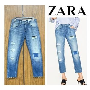 NWT Zara Relaxed Fit Distressed Ripped Jeans Loose